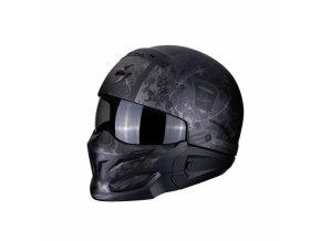 Moto přilba SCORPION EXO-COMBAT STEALTH matná černo/stříbrná