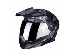 Moto přilba SCORPION ADX-1 BATTLEFLAG černo/stříbrný