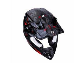 Moto přilba SCORPION EXO VX-16 AIR PUNCH černo/stříbrno/červená