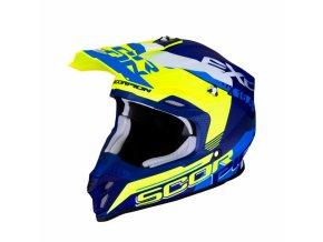 Moto přilba SCORPION EXO VX-16 AIR ARHUS matná modro/žlutá