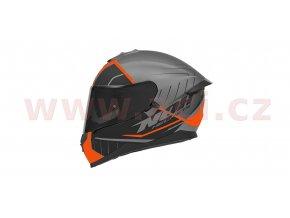 přilba N302S FAST LINE, NOX (stříbrná matná/černá/oranžová, s aerodynamickým spoilerem)