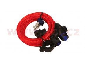 zámek na motocykl Cable Lock, OXFORD - Anglie (červený, délka 1,8m)