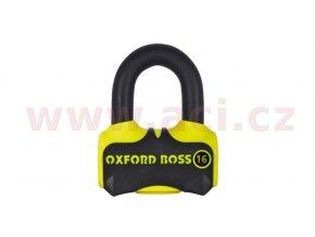 zámek kotoučové brzdy Boss 16, OXFORD - Anglie (žlutý/černý, průměr čepu 16mm)