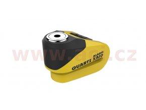 zámek kotoučové brzdy Quartz Alarm XA10, OXFORD - Anglie (integrovaný alarm, žlutý/černý, průměr čepu 10mm)