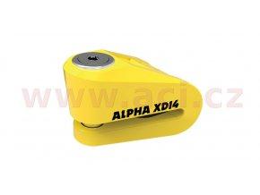 zámek kotoučové brzdy Alpha XD14, OXFORD - Anglie (žlutý, průměr čepu 14mm)
