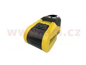 zámek kotoučové brzdy Quartz Alarm XA6, OXFORD - Anglie (integrovaný alarm, žlutý/černý, průměr čepu 6mm)