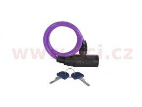 zámek na motocykl Bumper Cable Lock, OXFORD - Anglie (fialový, délka 0,6m)
