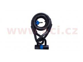 zámek na motocykl Loop Lock15 s U profil zámkem Shackle Mini, OXFORD - Anglie (kouřový, délka 2m, průměr čepu a lana 15mm)