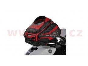 tankbag na motocykl Q30R QR, OXFORD - Anglie (černý/červený, s rychloupínacím systémem na víčka nádrže, objem 30l)