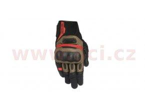 rukavice HIGHLANDS, ALPINESTARS - Itálie (černé/hnědé/červené)