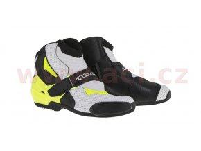 boty SMX-1 R Vented, ALPINESTARS - Itálie (černé/bílé/žluté fluo, perforovaná kůže)