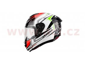 přilba Hurricane Racing, VEMAR - Itálie (bílá/černá/červená/zelená)