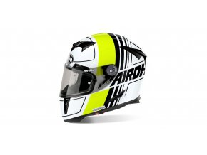 přilba GP500 Scrape, AIROH - Itálie (bílá/žlutá/černá)