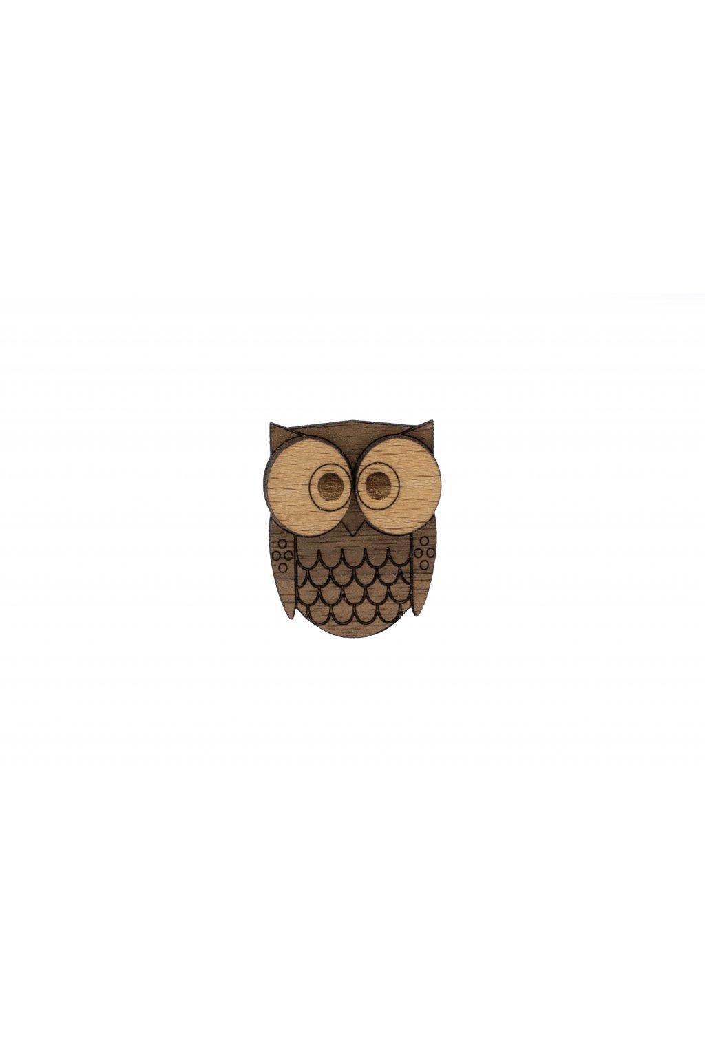 Dřevěná brož - Sova