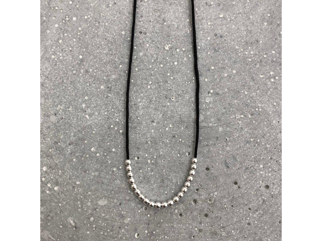 Dámský náhrdelník s korálky černý/stříbro Mou Jewel