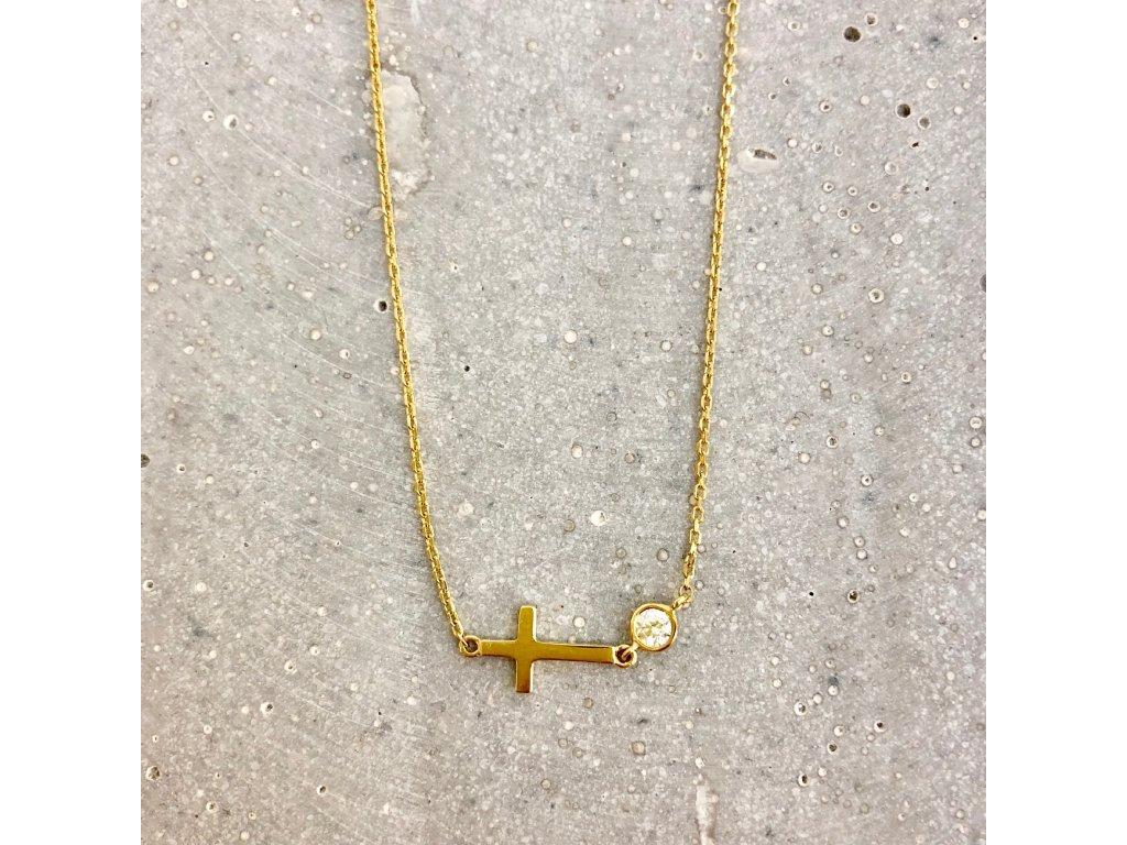 Dámský náhrdelník křížek a zirkon žluté zlato Mou Jewel
