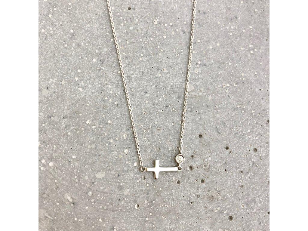 Dámský náhrdelník křížek a zirkon stříbro Mou Jewel