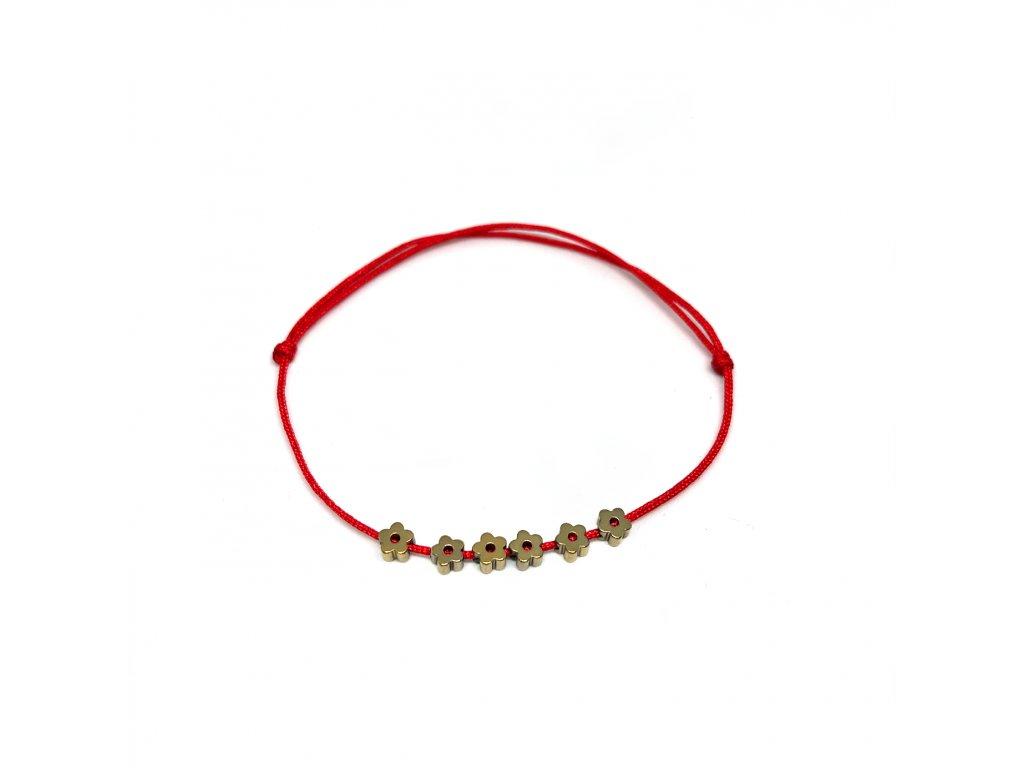 Dámský náramek s hematite kytičkami červený Mou Jewel