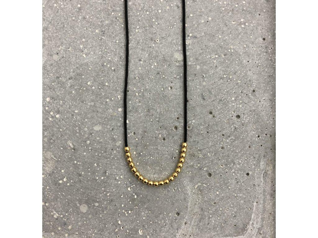 Dámský náhrdelník s korálky černý/stříbro pozlacené Mou Jewel