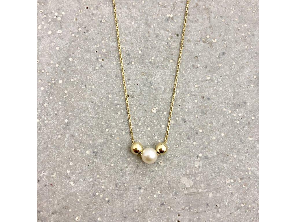 Dámský náhrdelník s říční perlou žluté zlato Mou Jewel