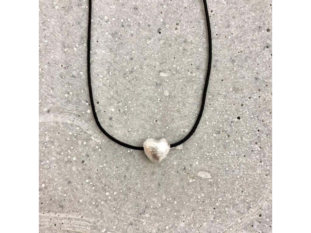 Dámský náhrdelník srdíčko černý/stříbro Mou Jewel
