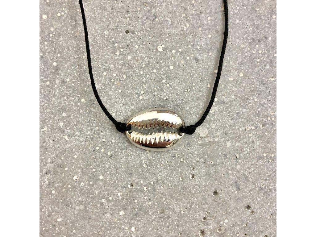 Dámský náhrdelník choker s mušlí černý/stříbro Mou Jewel