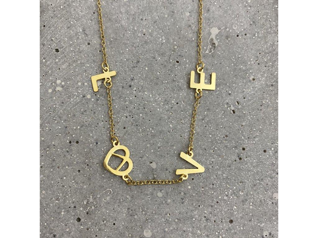 Dámský náhrdelník LOVE stříbro pozlacené Mou Jewel