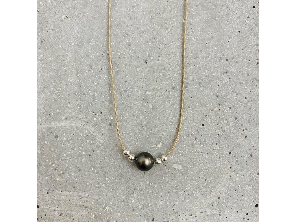 Dámský náhrdelník s říční perlou béžový Mou Jewel