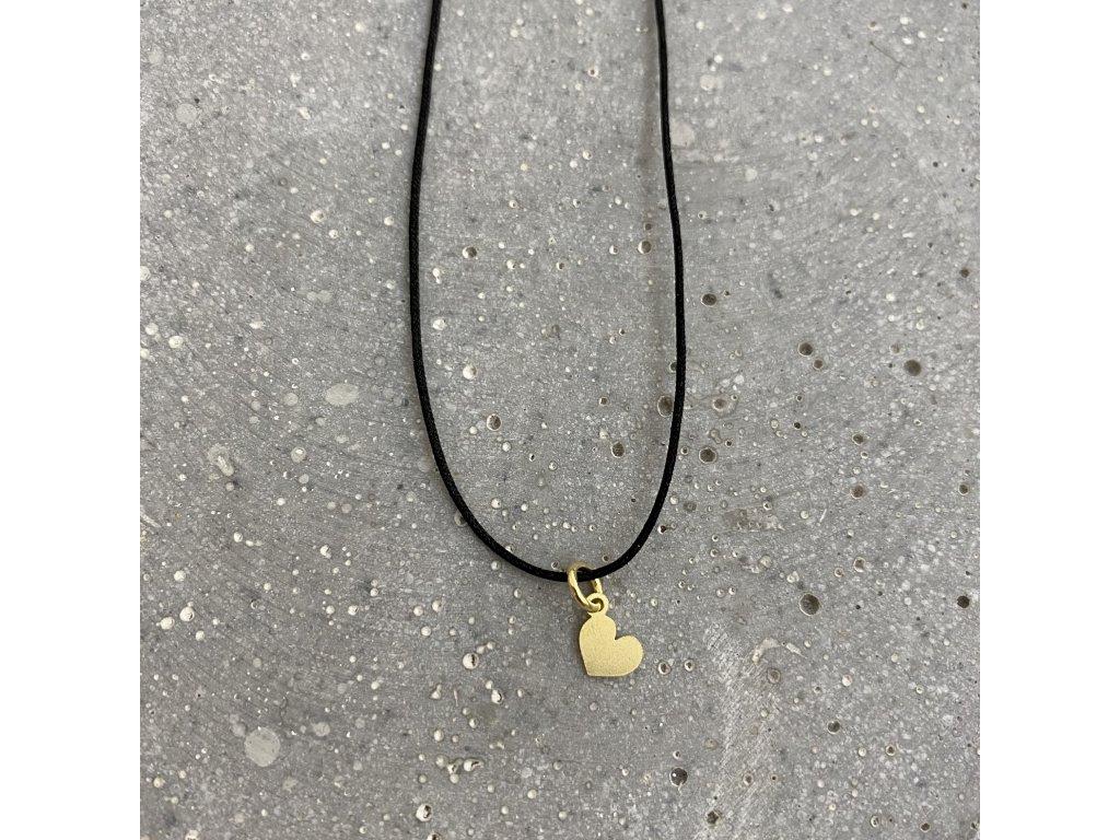 Dámský náhrdelník srdce černý/stříbro pozlacené Mou Jewel
