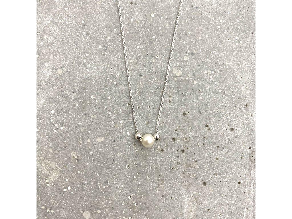 Dámský náhrdelník s říční perlou stříbro Mou Jewel