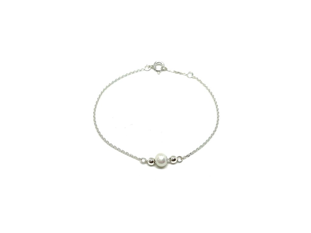 Dámský náramek s říční perlou řetízek stříbro Mou Jewel