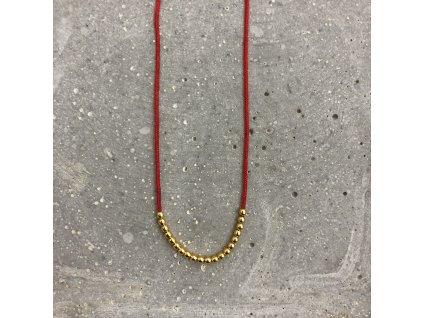 Dámský náhrdelník s korálky červený/stříbro pozlacené Mou Jewel