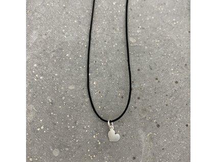 Dámský náhrdelník srdce černý/stříbro Mou Jewel