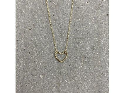 Dámský náhrdelník se srdíčkem žluté zlato Mou Jewel