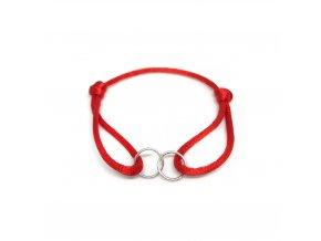 Dámský náramek Double ring červený/stříbrný Mou Jewel