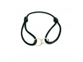 Pánský náramek Double ring černý/zlatý Mou Jewel