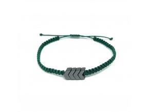 Pánský náramek s hematite šipkou zelený Mou Jewel