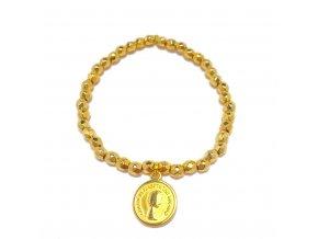 Dámský náramek Faceted ball s mincí zlatý Mou Jewel