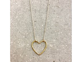 Dámský náhrdelník stříbro se srdíčkem žluté zlato Mou Jewel