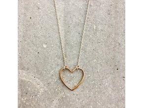 Dámský náhrdelník stříbro se srdíčkem růžové zlato Mou Jewel