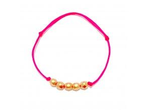 Dámský náramek Faceted ball růžový neon Mou Jewel