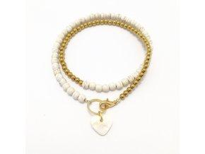 Dámský náramek Howlite bílý a hematite zlatý s perleťovým srdcem Mou Jewel