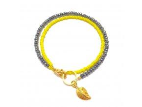 Dámský náramek žlutý s lístečkem Mou Jewel