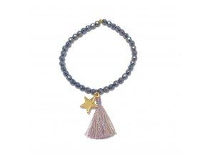 Dámský náramek Hematite s hvězdičkou a střapcem Mou Jewel