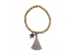 Dámský náramek Hematite zlatý s hvězdičkou a střapcem Mou Jewel