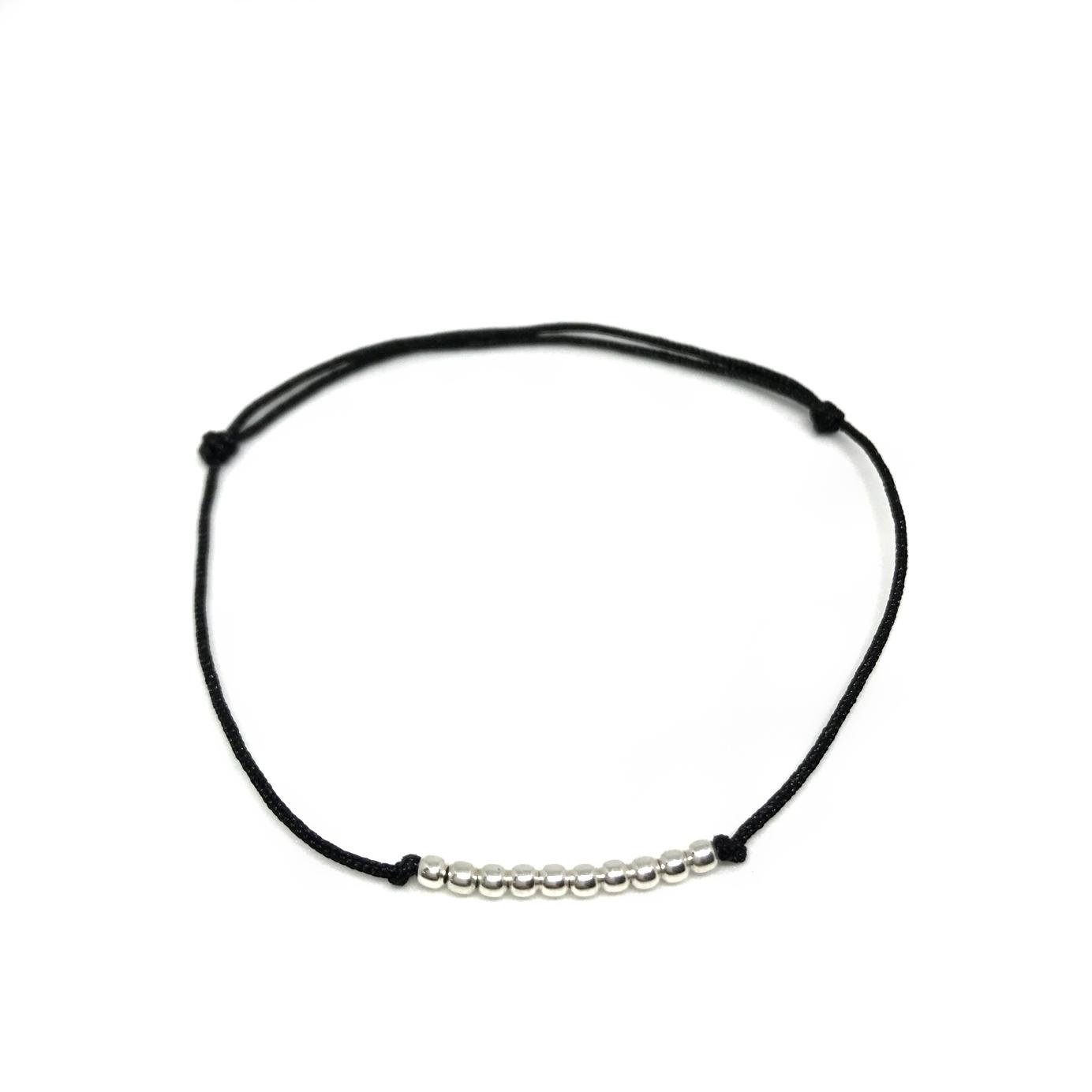 Pánský náramek s korálky černý/stříbrný Mou Jewel