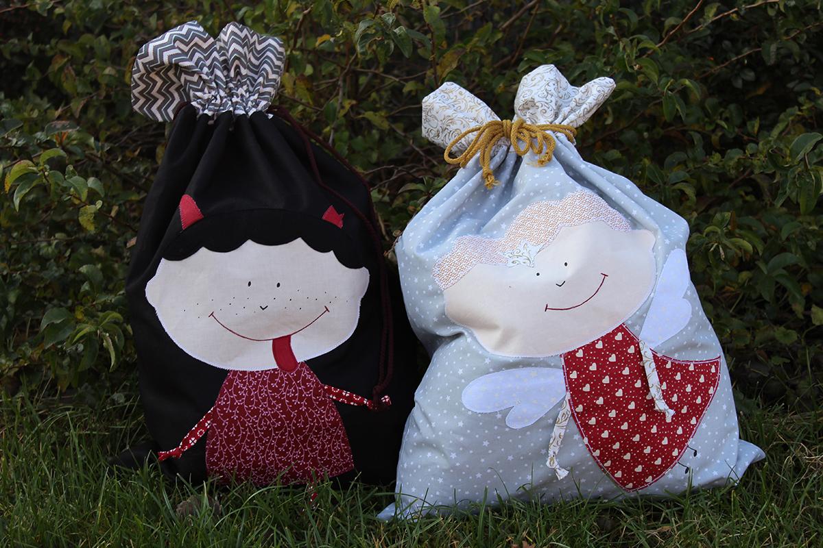 Pytel na dárky a dobrůtky - s Čertíkem nebo Andílkem - návod na šití
