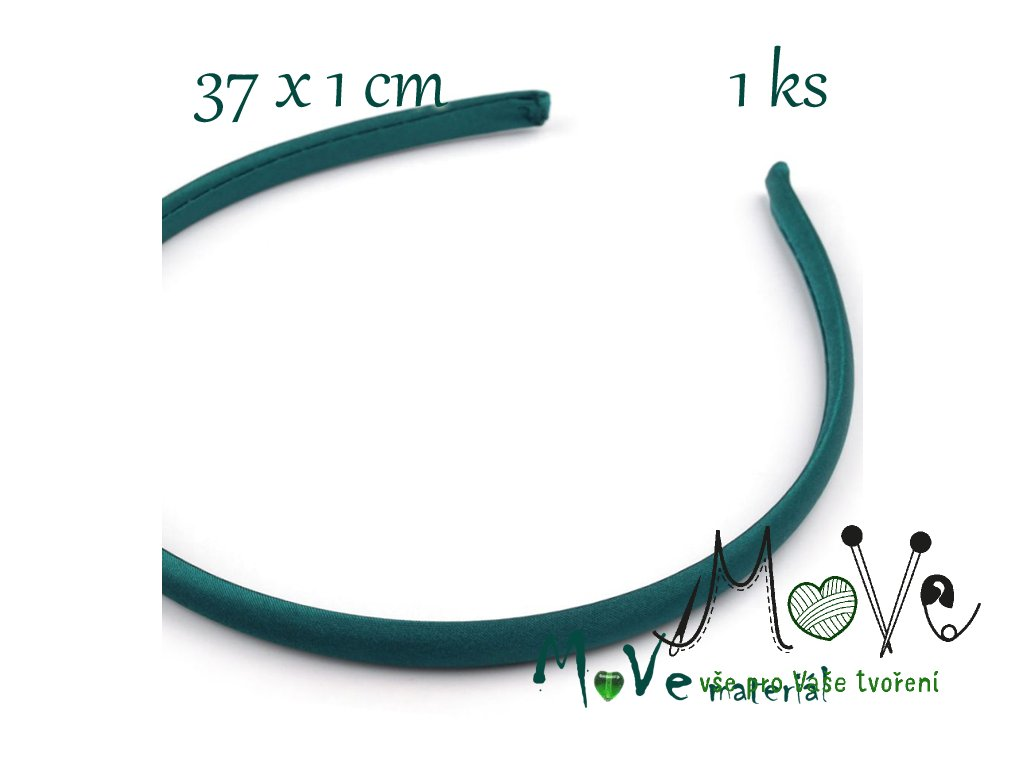 Čelenka jednoduchá potažená smaragdová 10mm - MoVe materiál 05e26cdfb3