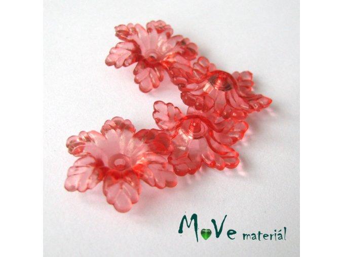 Akrylový květ 22mm, 4ks, světle červený