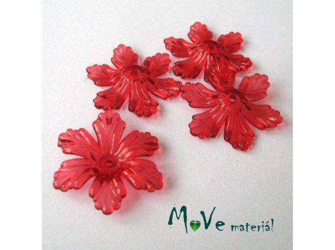 Akrylový květ 27,5mm, 4ks, červený